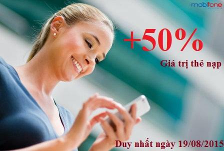 Mobifone khuyến mãi 50% giá trị thẻ nạp ngày 19-08