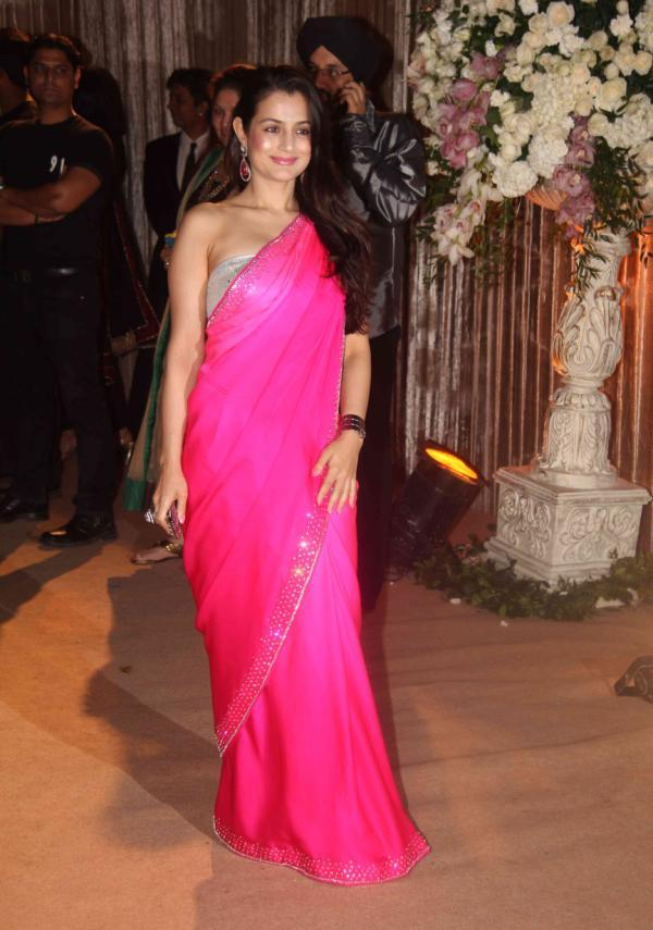 Amisha Patel in Pink Saree1 - Amisha Patel in Magenta Hot Saree at Dheeraj Deshmukh Wedding Reception