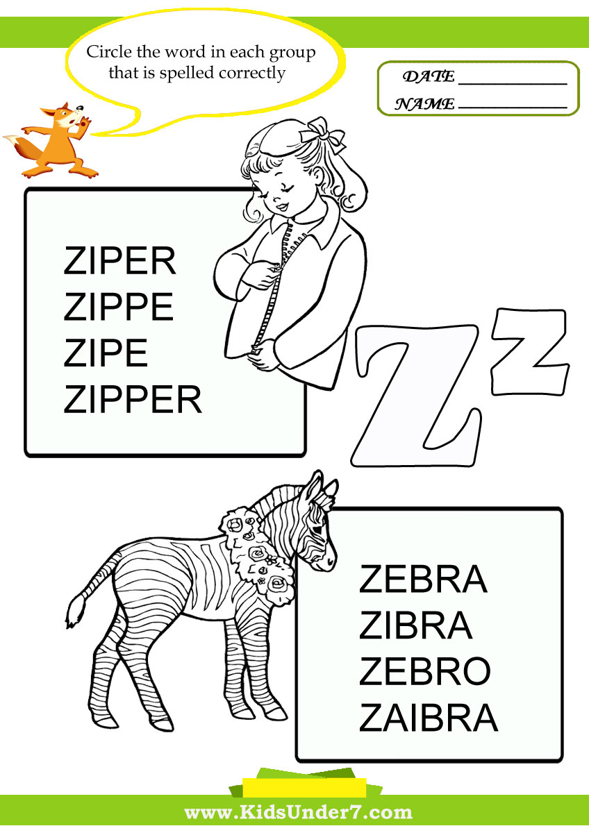 Kids Under 7: Circle the Correct Spelling of 'Z' Words