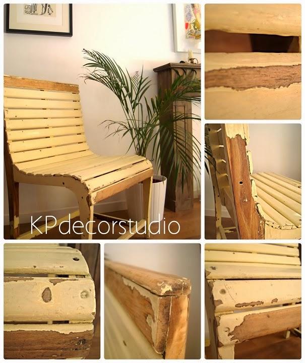 Sillas de madera decapada. Bancos y asientos vintage online