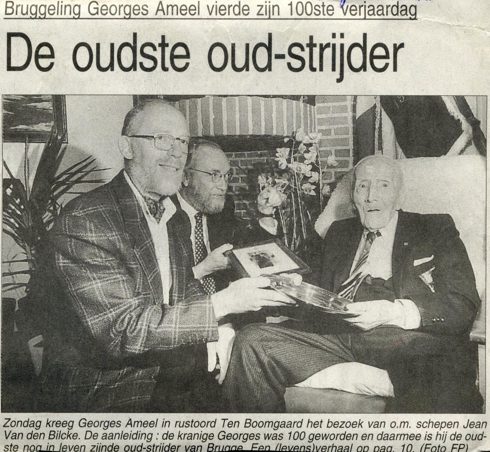 Georges gevierd als honderdjarige. Brugsch Handelsblad 27-01-1996