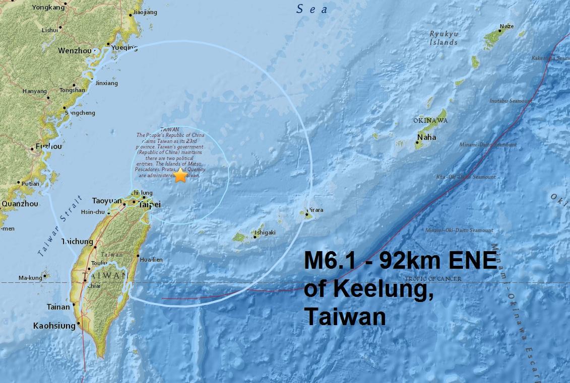 A magnitude 6.1 - 92km ENE of Keelung, Taiwan is the sixth major quake of May
