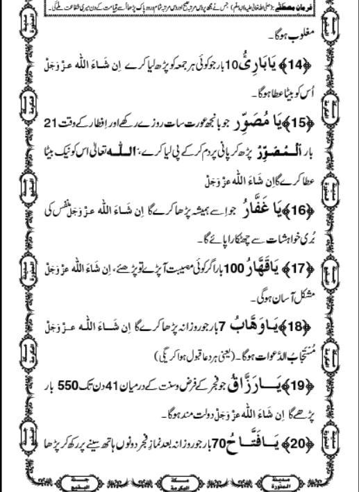 Asma ul Husna ~ Benefits In Urdu (Faiday, Fawaid, Tareeqa