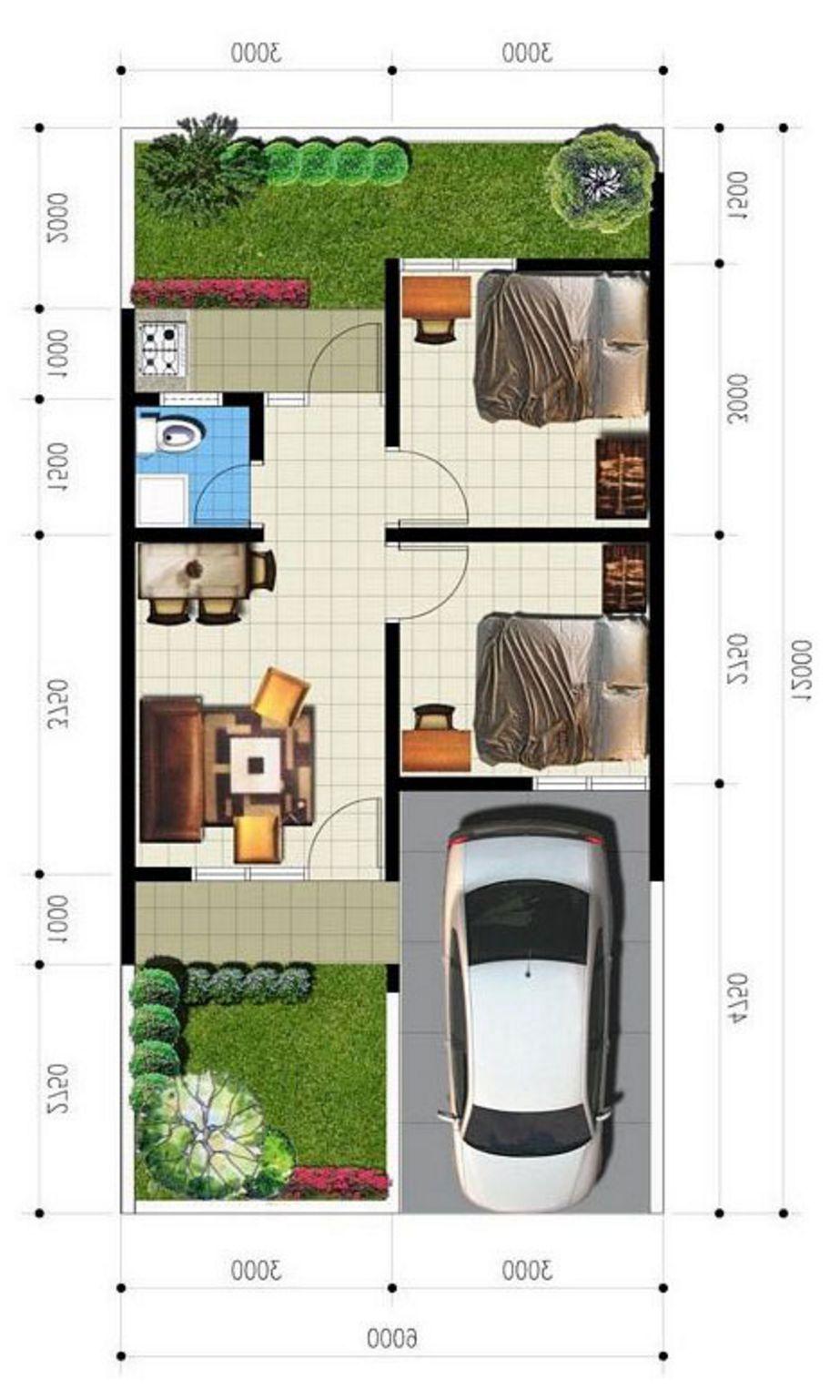 gambar denah rumah type 36 72 unik