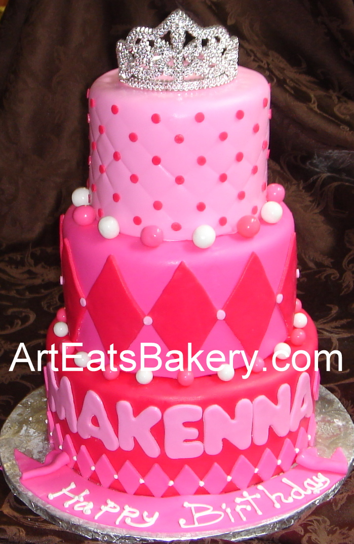 Three Tier Hot And Soft Pink Fondant Girlu0027s Princess Birthday Cake With  Tiara Topper