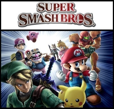 Super Smash Bros. logo and characters