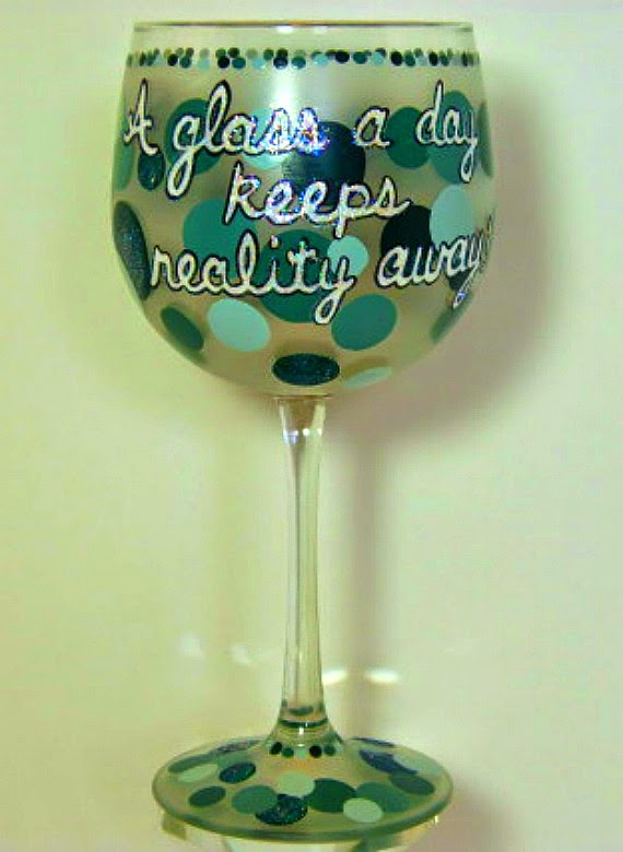 Polka Dotted Custom Saying Painted Wine Glass
