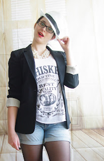 Cheeky Hat Girl - Denim Shorts, Whiskey Top, Long Blazer & Hut