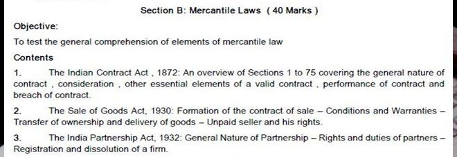 CA CPT SYLLABUS MERCANTILE LAW