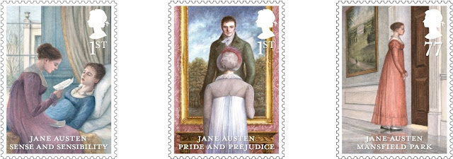 Three stamps from Jane Austen ste.