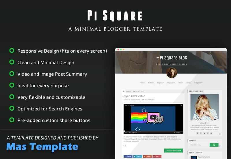 PiSquare Responsive Blogger Template
