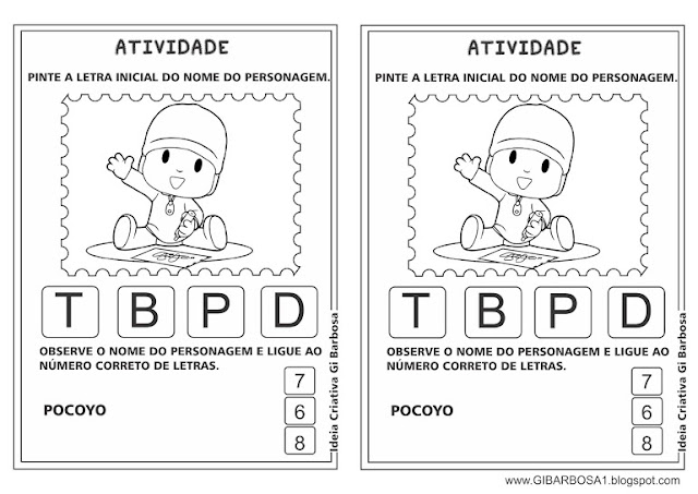 Atividade Pocoyo Letra Inicial e Número de Letras