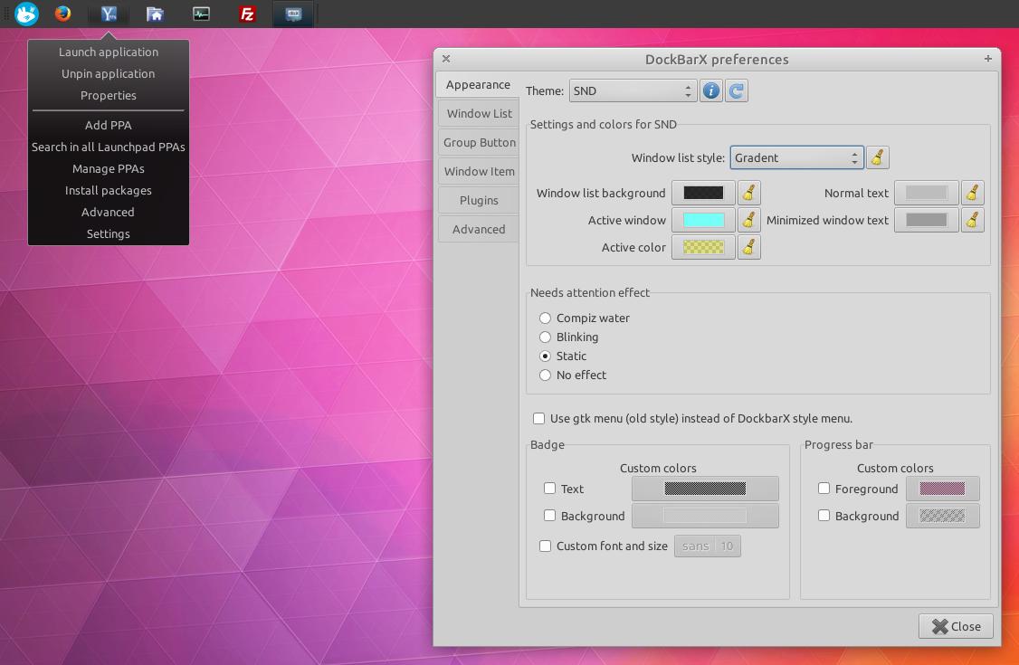 Xfce Dockbarx plugin
