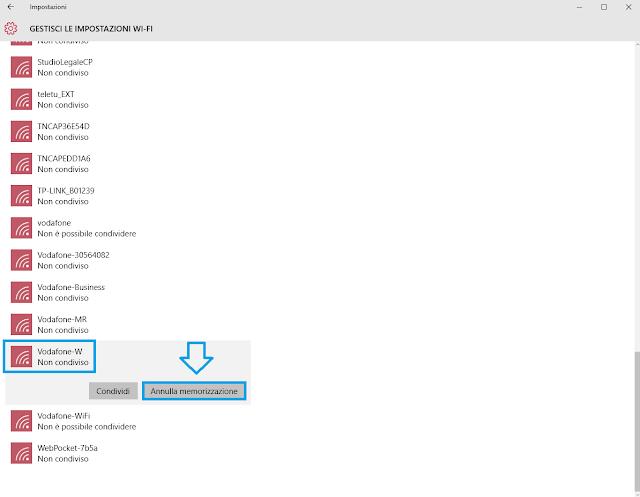 annulla memorizzazione password rete wifi windows 10