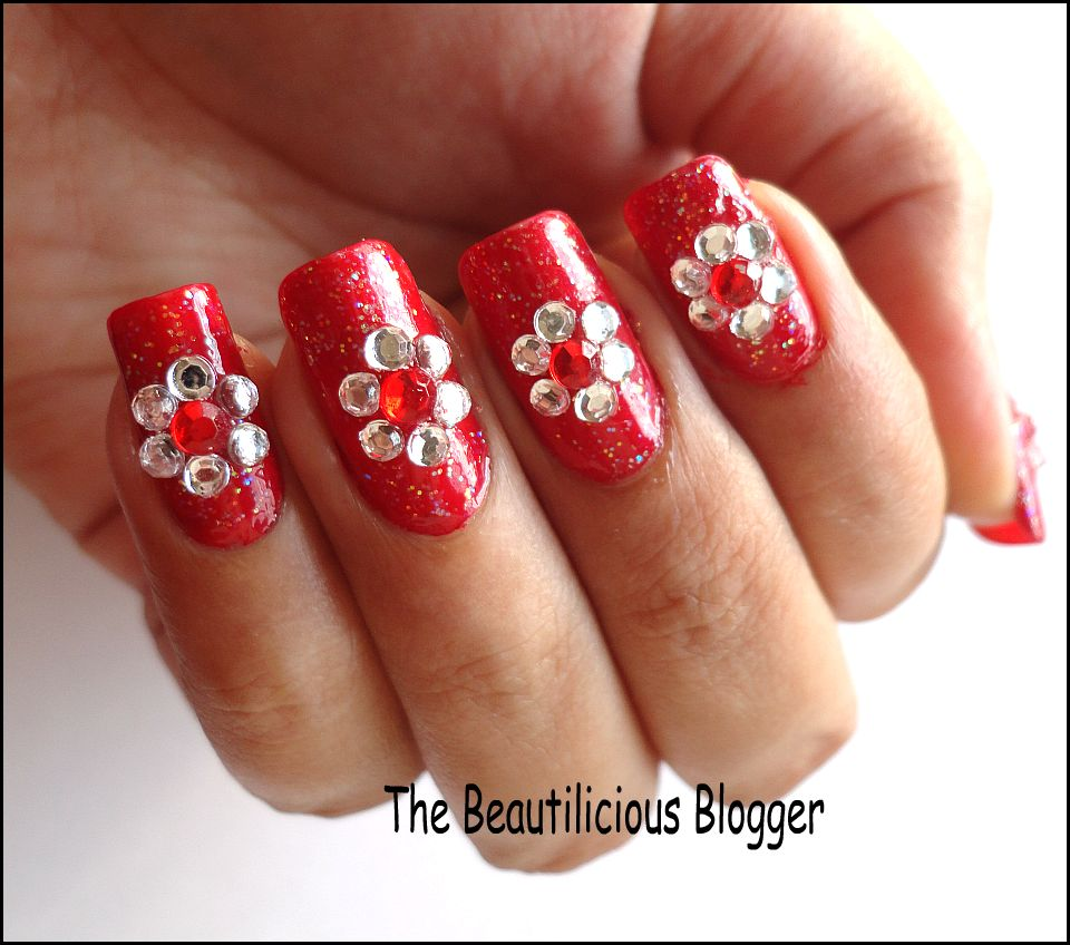 Red And White Nails For Wedding Blingy red and white nail art