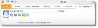 Toolbar to extract Outlook email to .eml