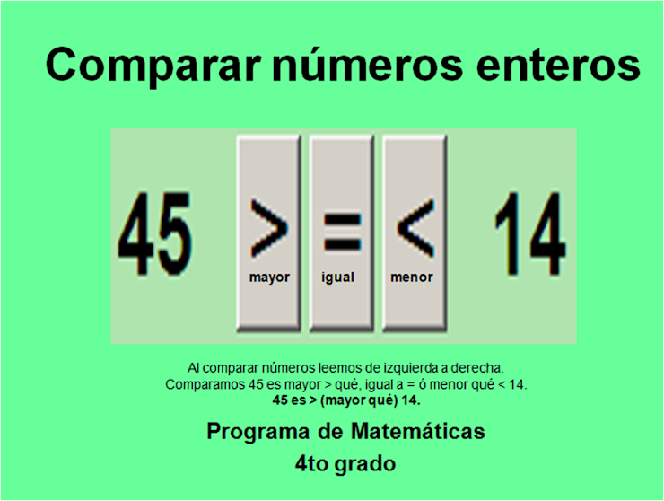 Comparar números ENTEROS