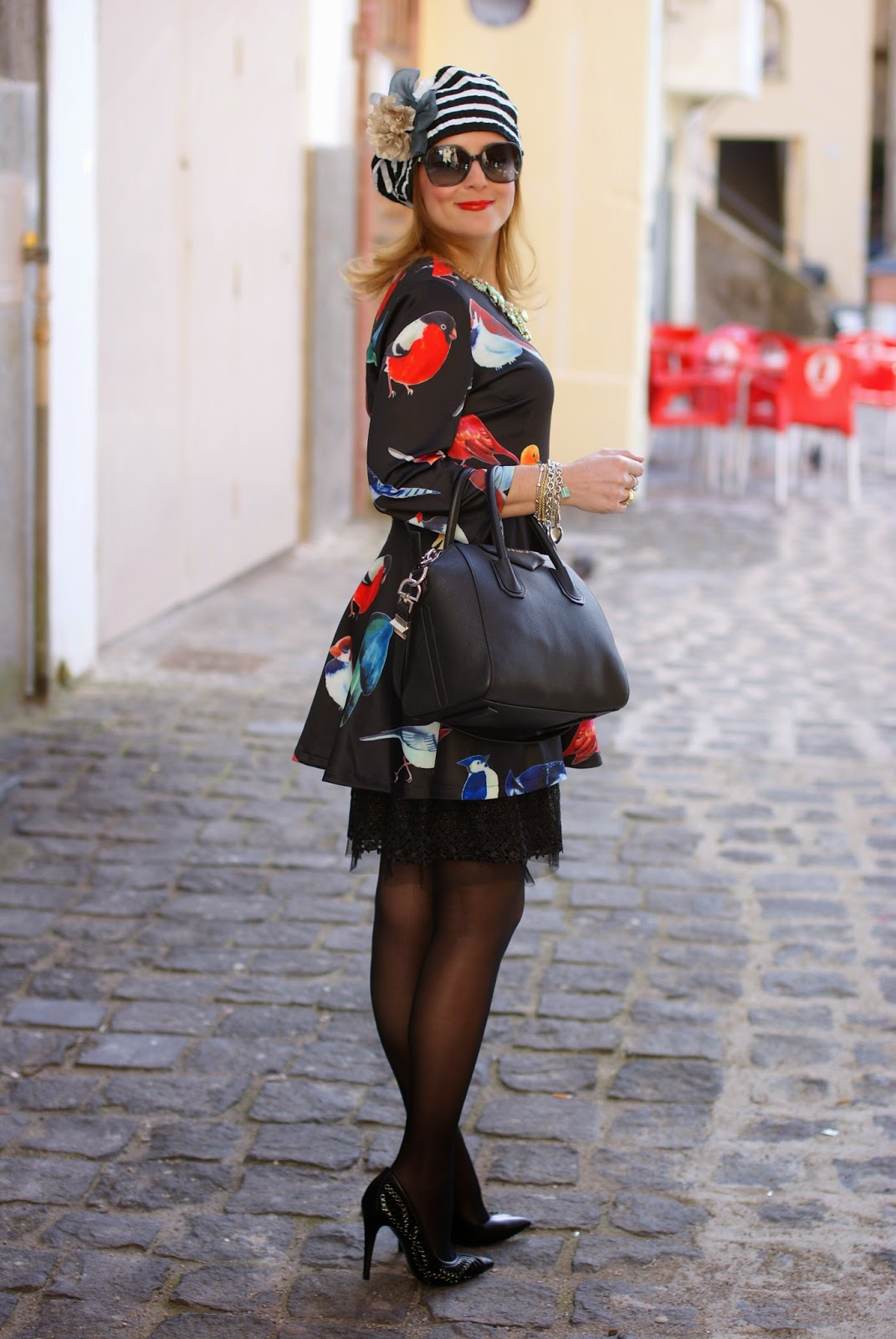 sheinside birds print dress, striped basque, Givenchy Antigona bag, Fashion and Cookies, fashion blogger