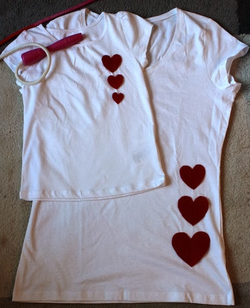 Appliqued hearts on t-shirts