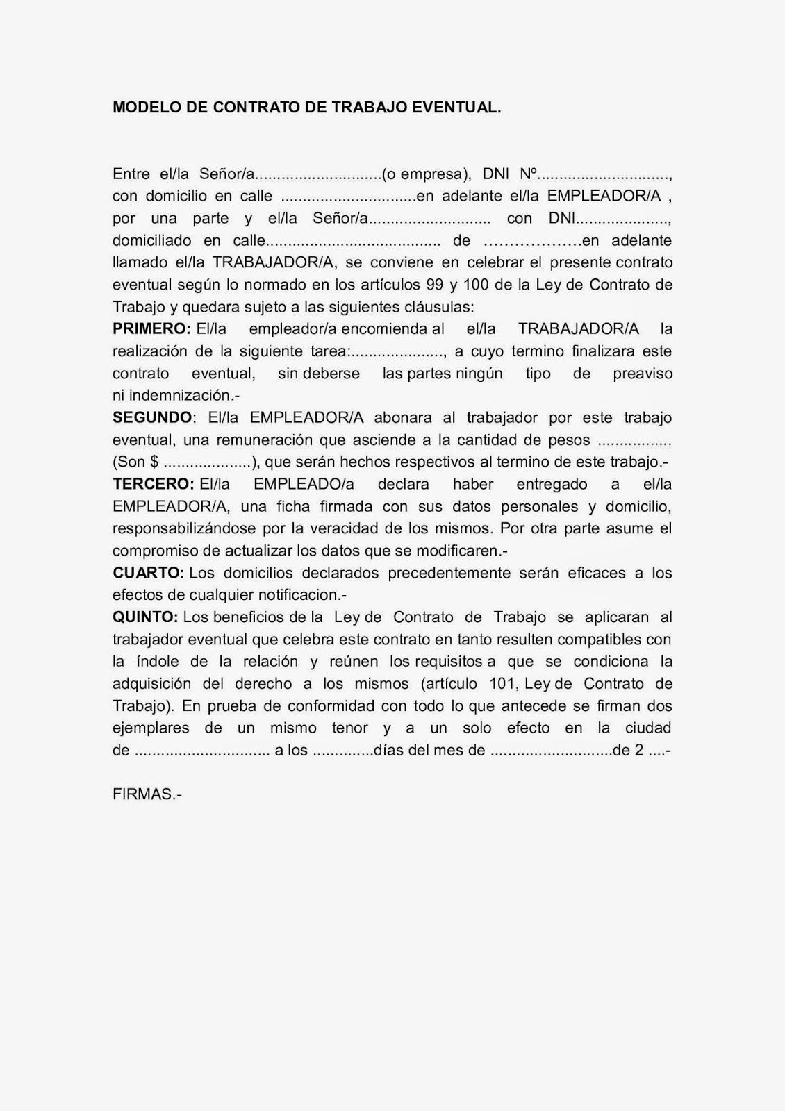 Modelos De Telegramas Y Notificaciones Laborales Contrato