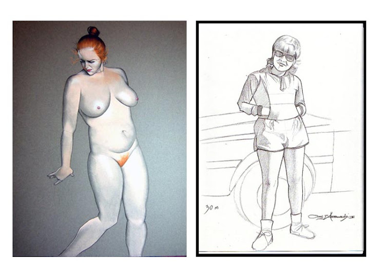 """ Female nude study (Pastel) & a 30 minute sketch of my mom!(^^)"" 2009"