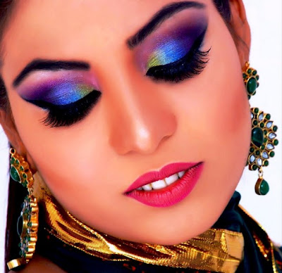 fast maza party makeup with glitter and shimmer