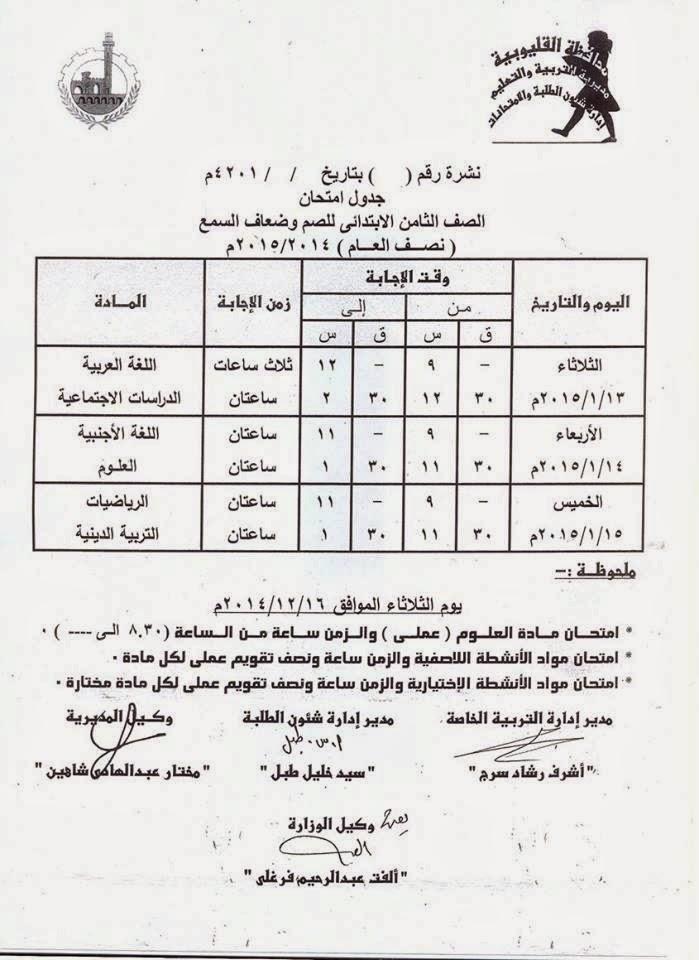 جداول امتحانات فرق ابتدائى الترم الأول 2015 لمحافظة القليوبية 10563199_65550191123
