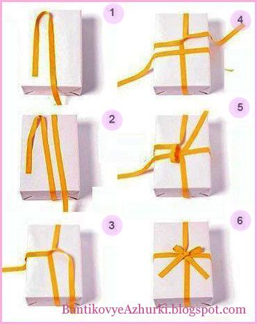 Красивые бантики на подарках как завязать