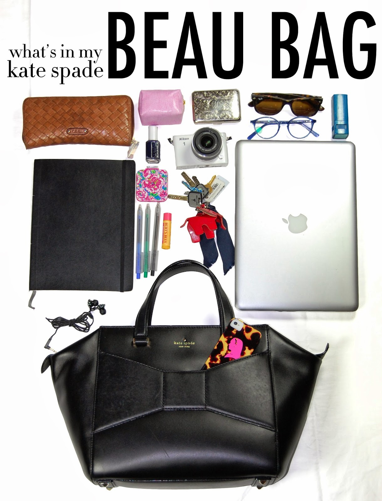 what s in my kate spade beau bag the college prepster