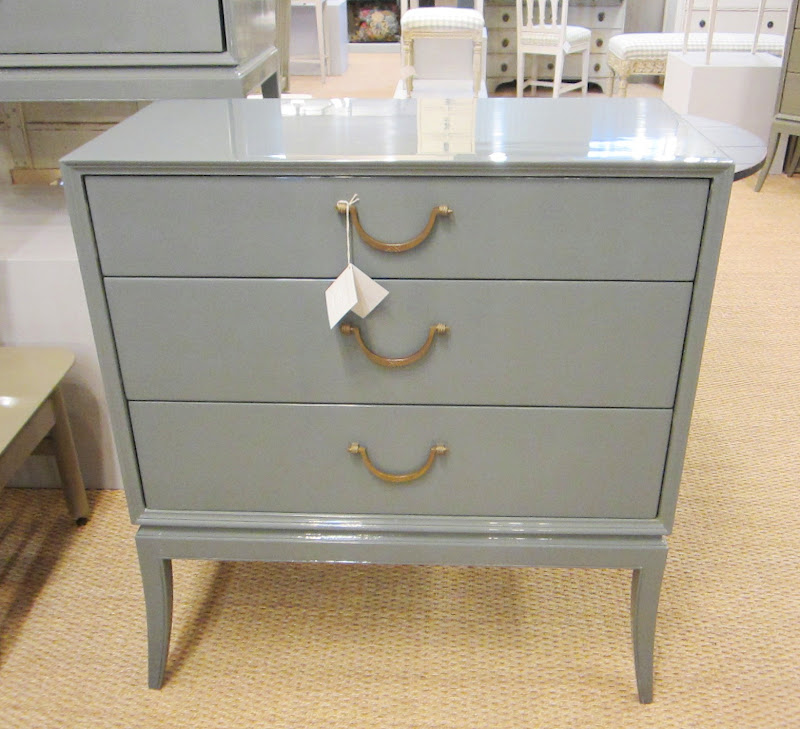 Blue grey dresser with three drawers and brass pulls at Chelsea Textiles in Atlanta
