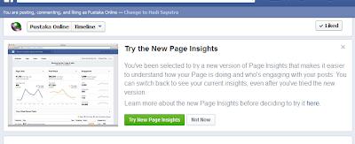 Setelah itu akan muncul tampilan gambar ini, kemudian klik Try New Page Insights dan Dashboard Anda akan terupgrade