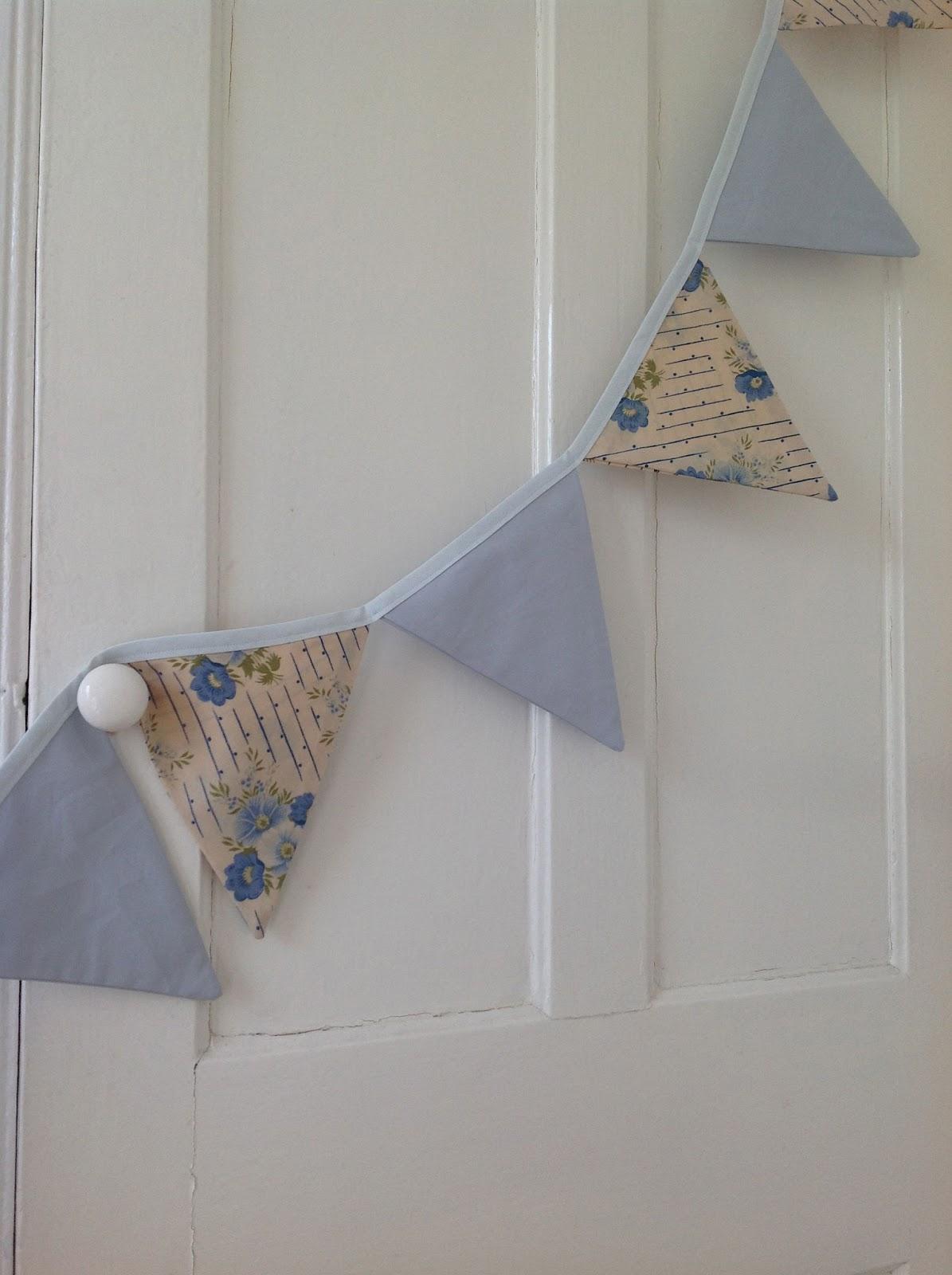 Vintage blue fabric handmade bunting