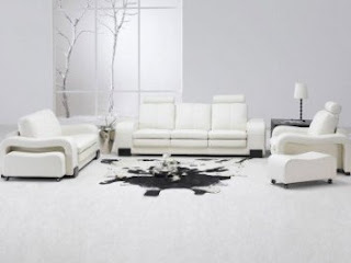 TOSH Furniture White Leather Living Room Set Sectional