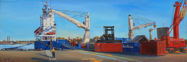 oil painting of  forklift,containers and cargo ship 'Southern Cross'  at the Hungry Mile, now Barangaroo by artist Jane Bennett