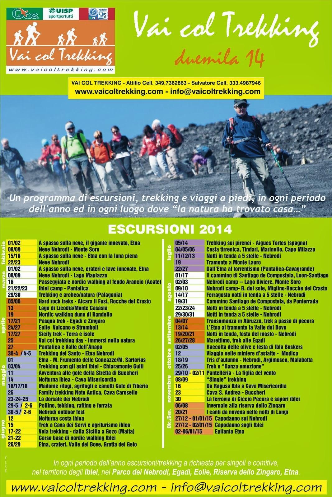 Calendario Trekking ed Escursioni 2014