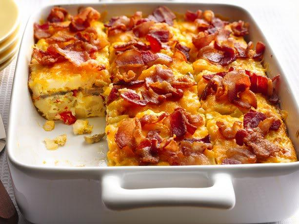 Bacon and hash brown egg bake. If you like eggs, it just got easier to ...