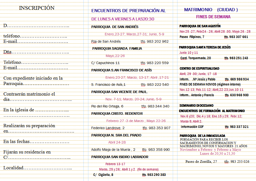 Cursillos Prematrimoniales 2016 - 2017