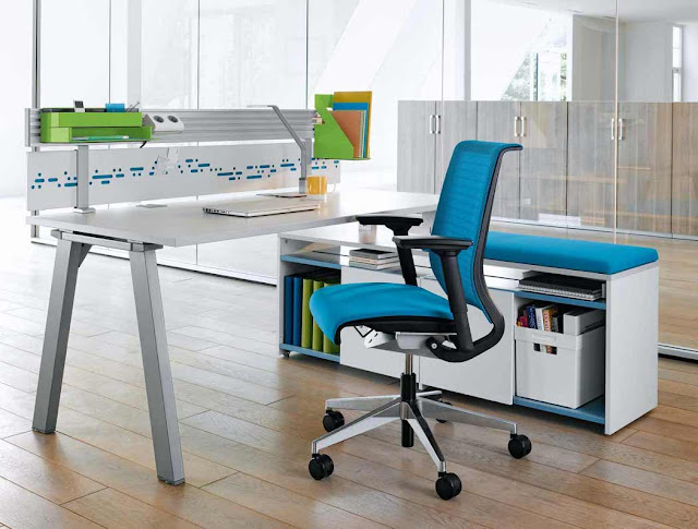 elegant blue orthopedic office chairs along with handplace and five wheels