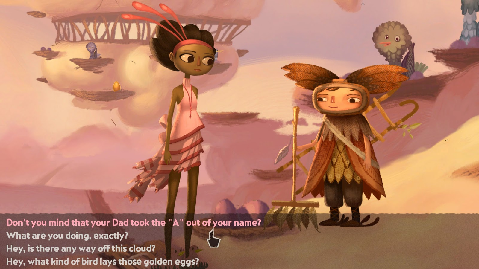 Broken Age Act 1 Vella in dialogue about cloud shoes