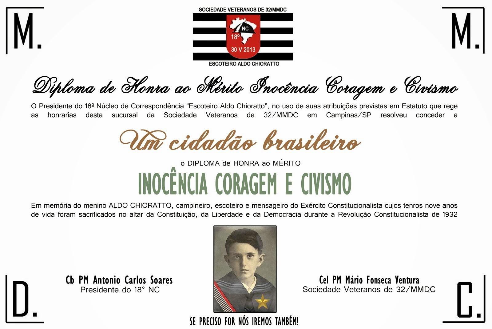 Diploma de Honra ao Mérito INOCÊNCIA CORAGEM E CIVISMO - Honraria do 18º Núcleo de Correspondência