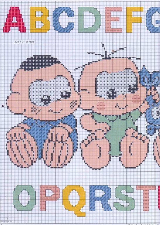 Las chorradikas de Laury: Patrón abecedario bebes para bordar