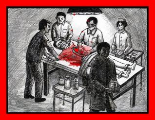 """""""an international market in human organs The international shortage of transplantable organs has lead to a booming underground industry known as the red market,"""" where people illegally buy and sell human."""