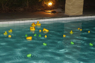 Piscina com patos e sapos decorando uma festa Junina