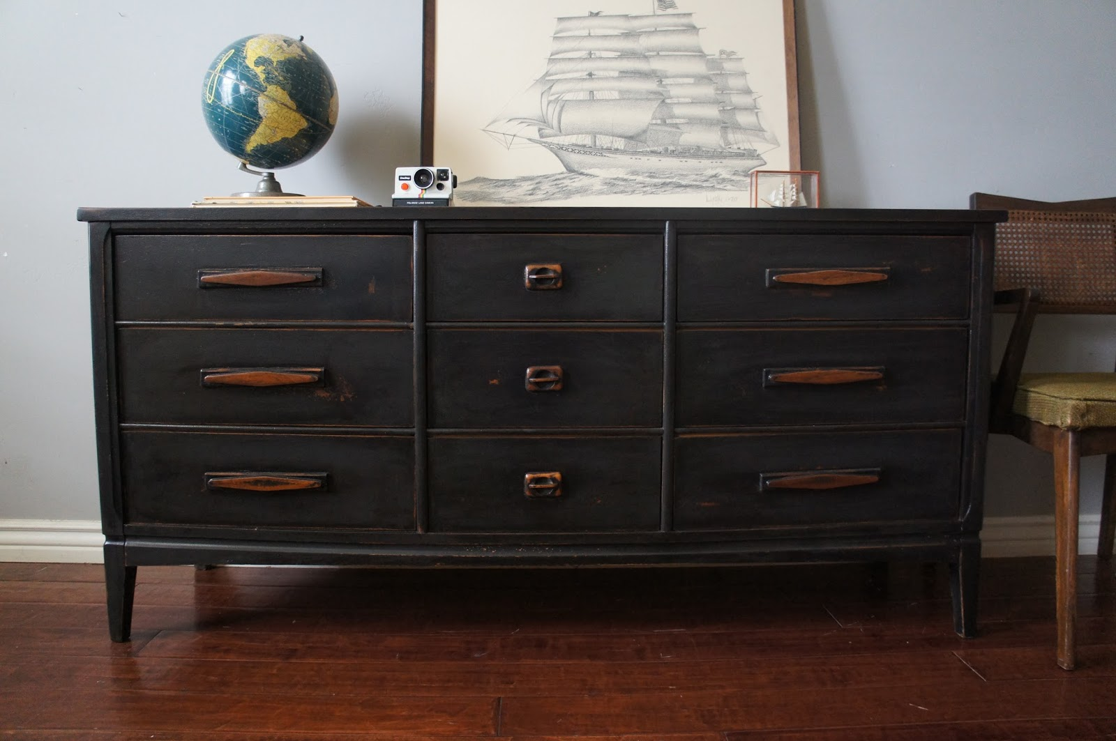 european paint finishes mid century graphite distressed dresser