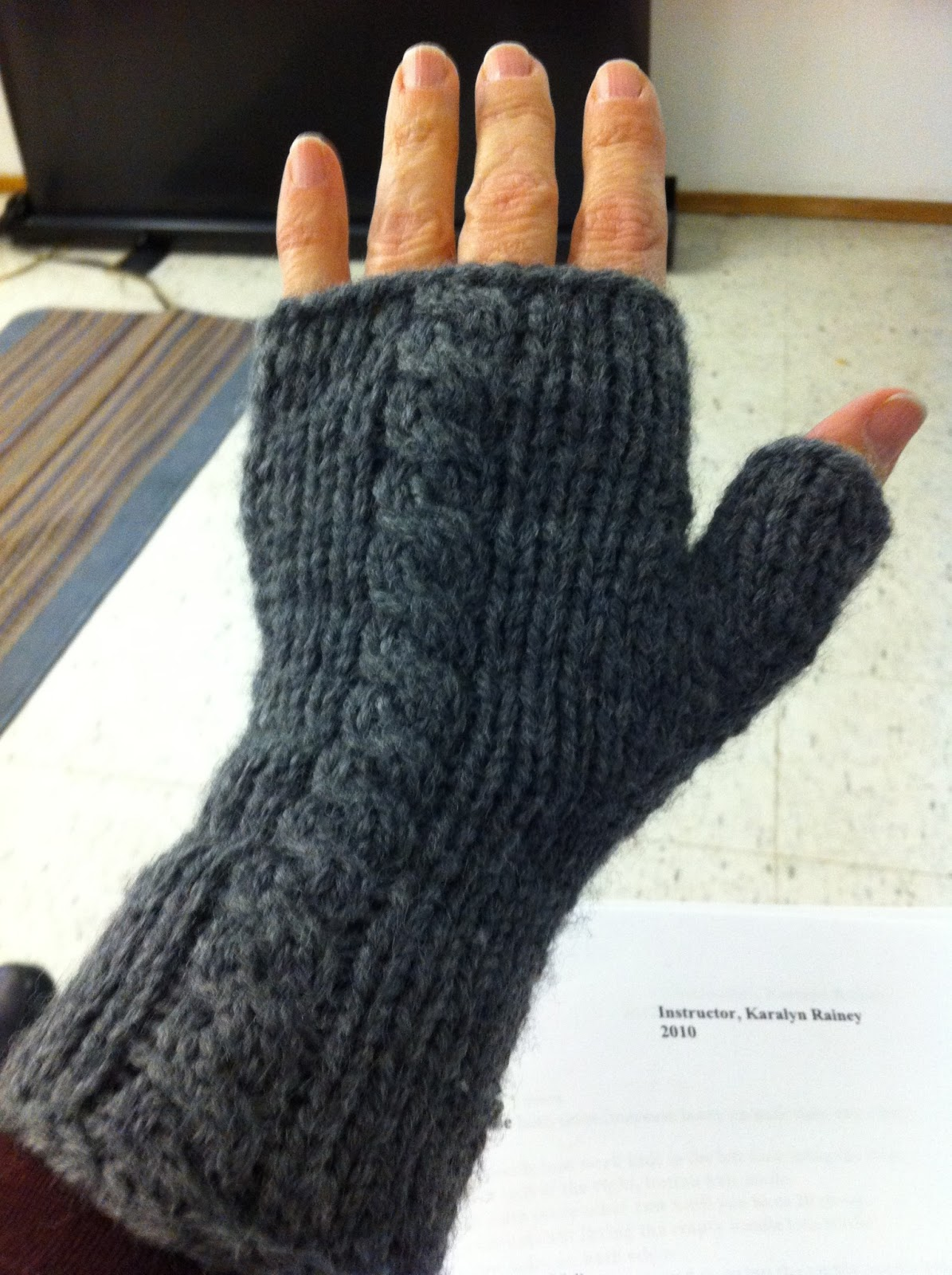 Machine Knitting Fun: Fingerless Gloves by Karalyn