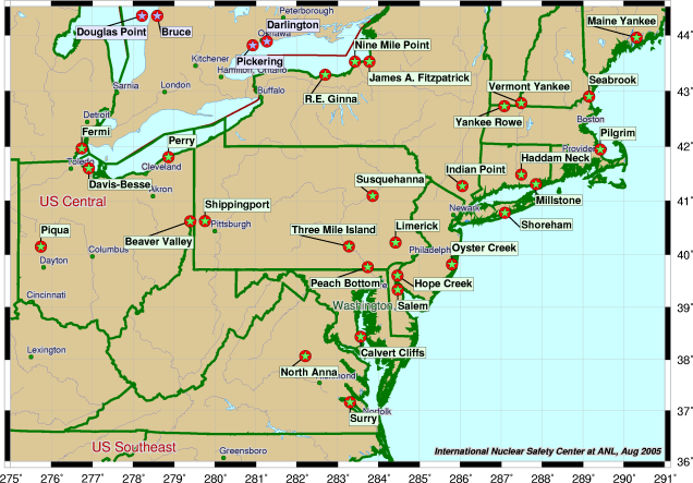 Physical map of northeast us