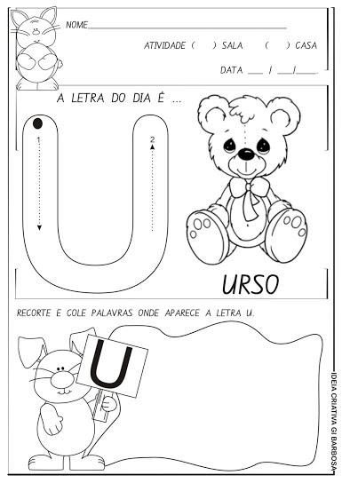 Atividade Letra U com setas