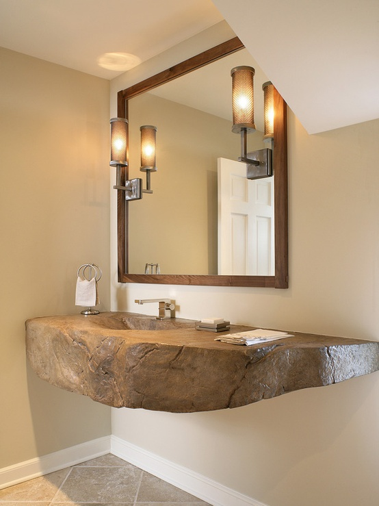 piece of driftwood or stone for bathroom