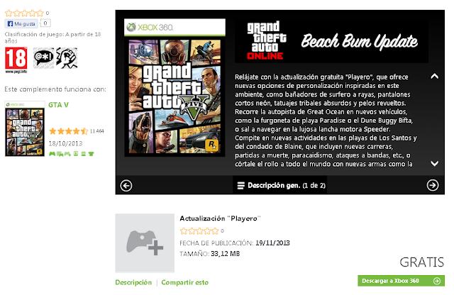 Actualización gratis del juego GTA V