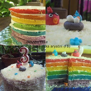 Week : Rainbow Steam Cake with Cheese and Angry Bird by Sheska Blossom